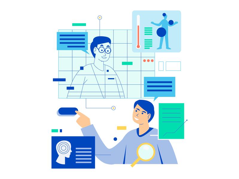 health monitor doctor blue artificial intelligence healthcare editorial illustrator digital ui vector illustration