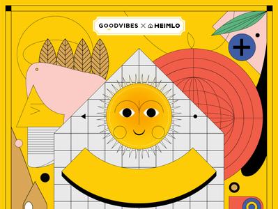 Ante Meridiem home women healthy happy yellow indonesia wellness digital sun illustration