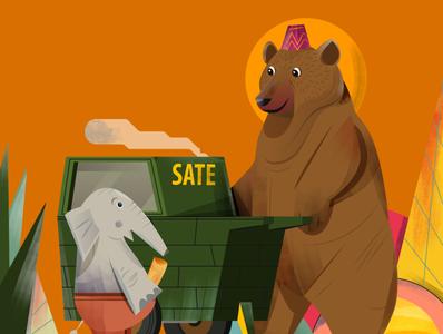 bear and elephant fun happy children book illustration children food animal illustrator indonesia vector illustration