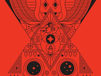 TedxJakarta Garuda lineart decade bird ten red jakarta indonesia icon vector illustration