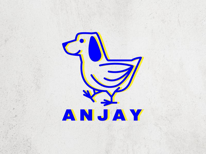 anjay indonesia dog illustration chicken dog animal logo branding icon vector illustration