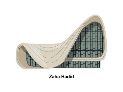 Zaha Hadid material affinitydesigner landmark icon building architecture architect editorial vector illustration