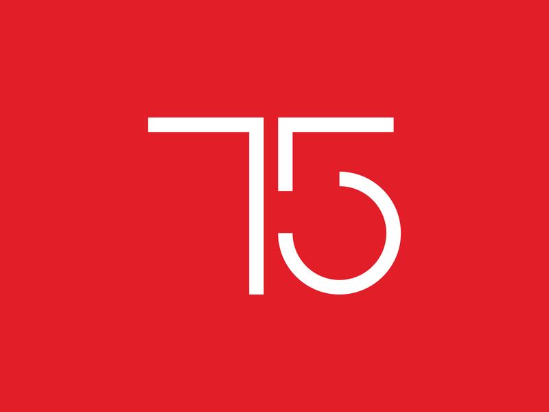 75 simple minimal geometry red number logo digital indonesia vector illustration