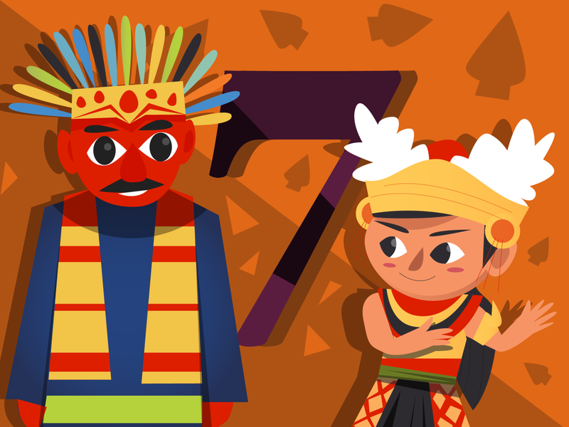 jakarta bali brand children kid number design digital indonesia icon vector illustration