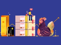 money and gold money chicken adobe illustrator jakarta editorial digital design indonesia illustration