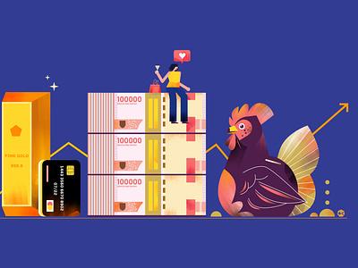 money and gold money chicken adobe illustrator jakarta editorial digital design indonesia illustration