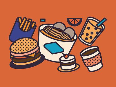 Food party coffee hamburger monocle editorial design digital indonesia icon vector illustration