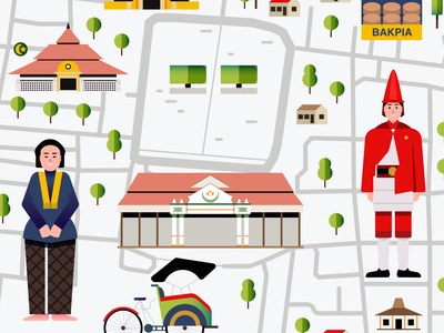yogyakarta map infographic yogyakarta people map editorial design indonesia icon vector illustration