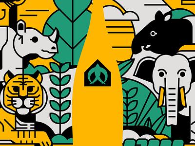 Animal of Indonesia asia tapir rhinoceros tiger elephant animal illustrator indonesia vector illustration