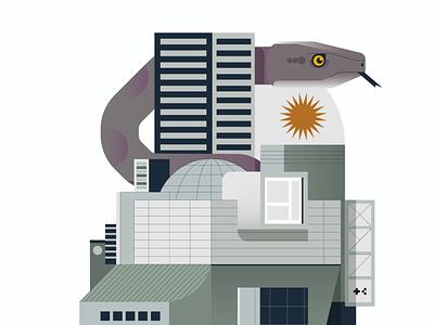 Concrete Snake facade concrete building animal snake architecture digital icon vector illustration