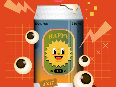 HAPPY AND FUN O1 beer thunder red sun nft editorial digital icon vector illustration