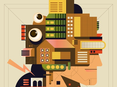 Architecture Face eye face house building architecture editorial digital icon vector illustration