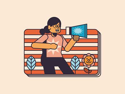 Speak Up speak woman people design editorial digital indonesia icon vector illustration