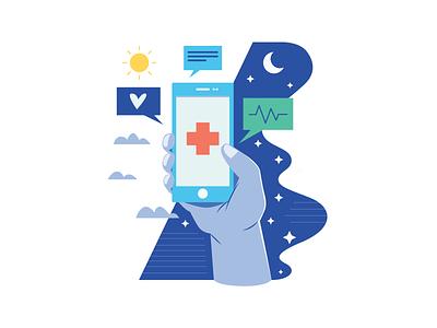 Healthy Apps medicine telemedicine covid doctor editorial digital indonesia icon vector illustration