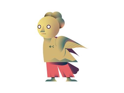 Aves Boy 01 character surreal animal bird design editorial digital icon vector illustration