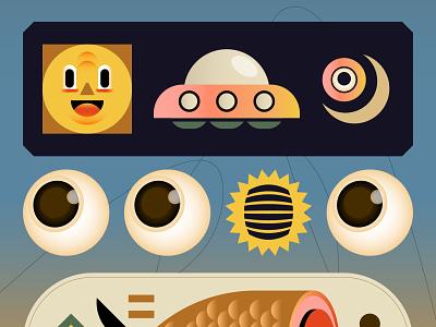 CHILL fish chill alien ufo design editorial digital icon vector illustration