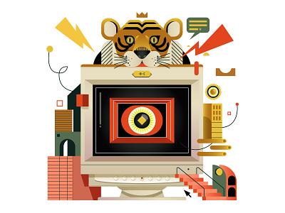 Monitor Tiger retro vintage monitor tiger editorial digital indonesia icon vector illustration