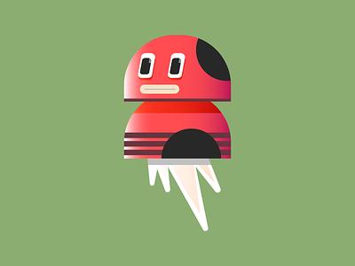 Floating Alien kawai cute red character alien editorial digital icon vector illustration