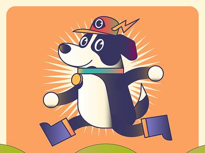 Leci The Dog character mascot globe retro nft metaverse animal dog design digital icon vector illustration