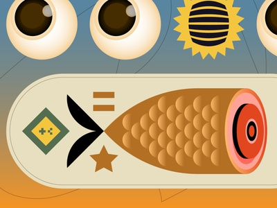 Bacon Fish eye retro sale nft meat bacon fish design editorial digital indonesia icon vector illustration
