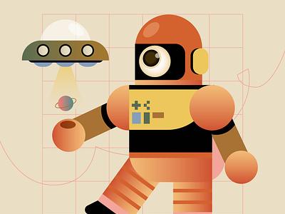 Planet Invader ship ufo orange alien robot astronaut vintage retro planet digital icon vector illustration