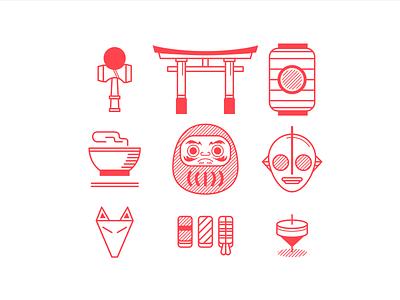 Japan Icons city minimal simple red kyoto tokyo japan digital icon vector illustration