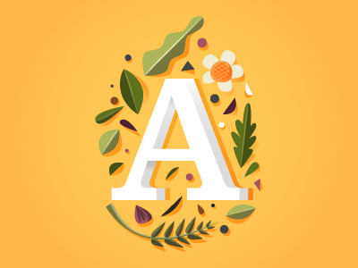 A illustration flower typography leaf yellow digital vector font card indonesia