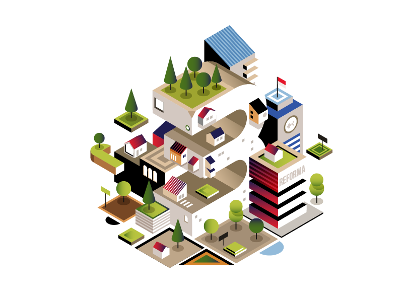 Opini O2 | Agraria building architecture youth isometric event minimal jakarta indonesia illustration newspaper editorial