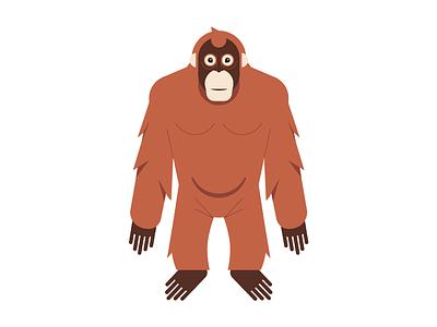 Orangutan banana brown science icon orangutan monkey indonesia primate illustration animal