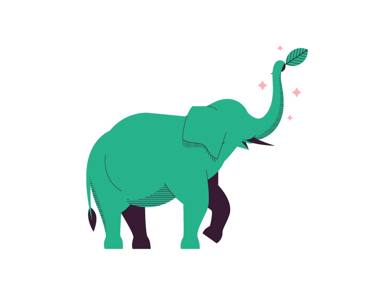 Gajah star leaf science icon green logo indonesia elephant illustration animal