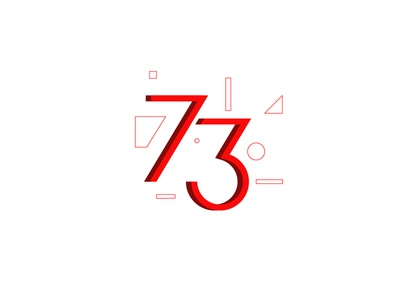 RI73 red number logo flat vector digital illustrator indonesia icon illustration