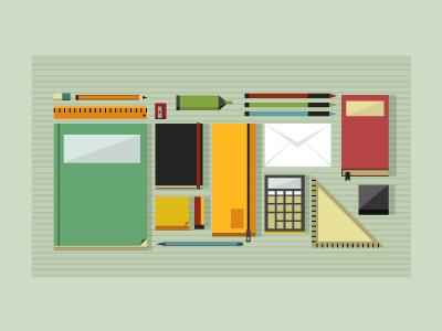 office republic illustration icon pencil green yellow pen book fun kid design office digital