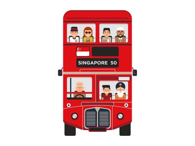 Singapore bus vector asia icon car people british red bus singapore