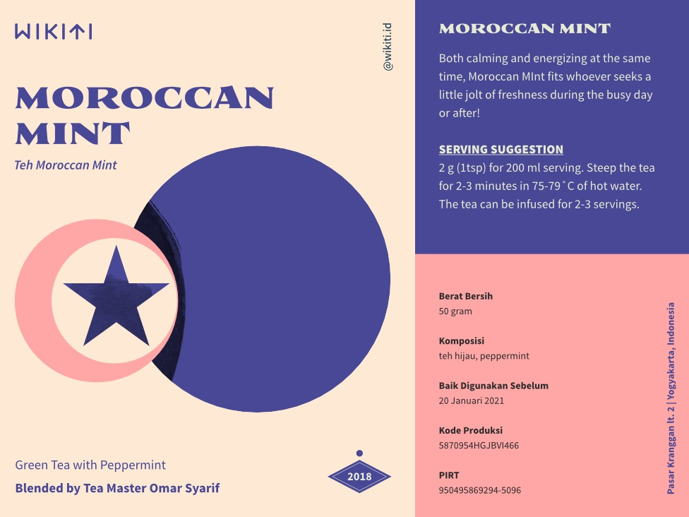 Morocco minimal modern typography design drink indonesia tea packaging layout