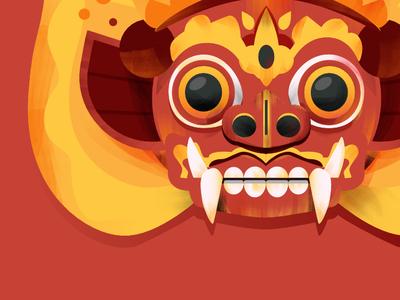 Bali Barong eye culture color texture icon red indonesia bali barong