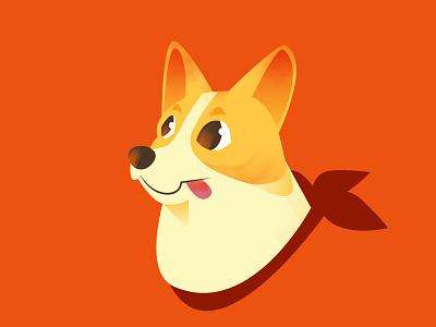 Doge orange yellow shibainu corgi icon vector illustration dog logo doge dog