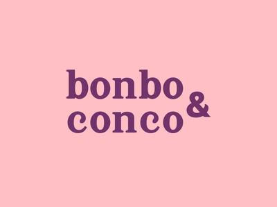 Bonbo & Conco editorial icon typography illustration digital logo design branding vector pink logo
