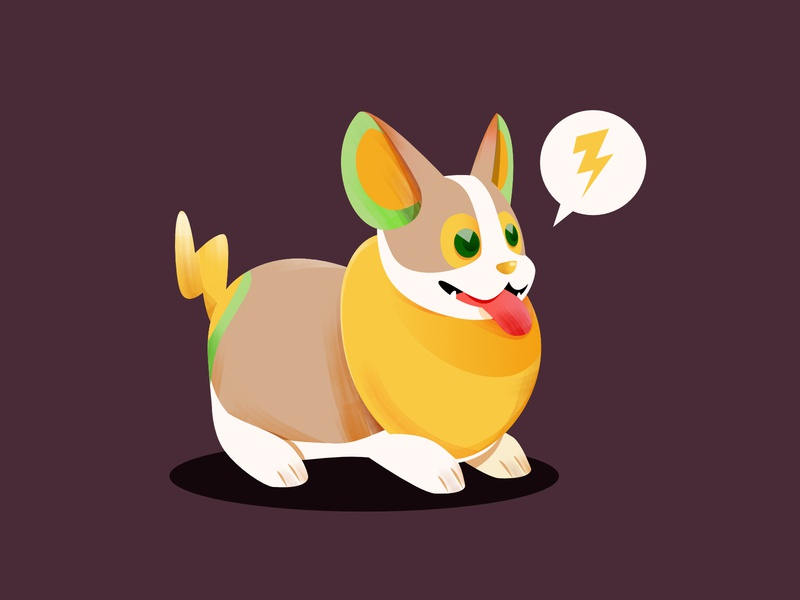 Yamper illustrator corgi thunder animal nintendo switch game dog illustration icon pokemon