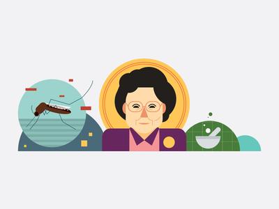 You  You Tu medicine insect woman editorial illustrator icon indonesia vector illustration