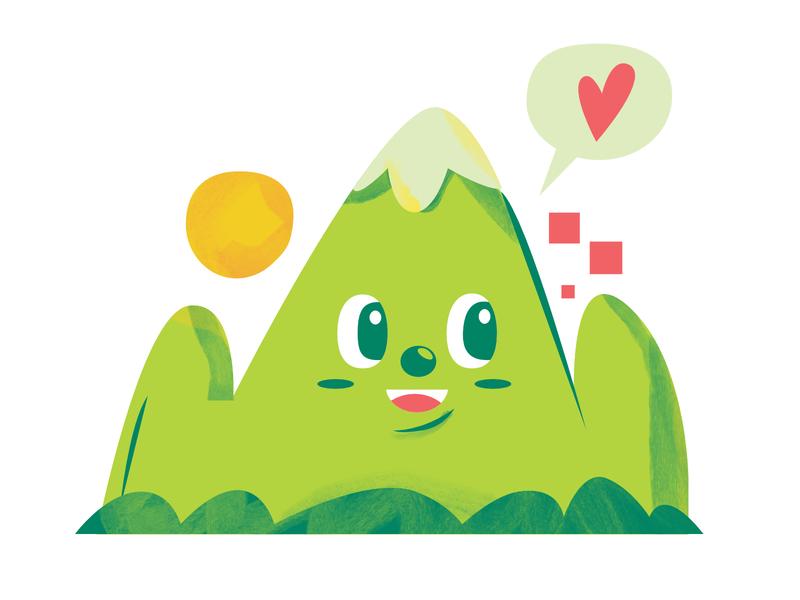 mountain flat editorial illustrator design digital indonesia icon vector illustration