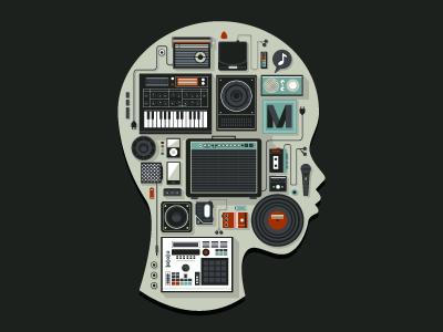 Music Memento illustration draw music black gadget vector people sound radio icon machine