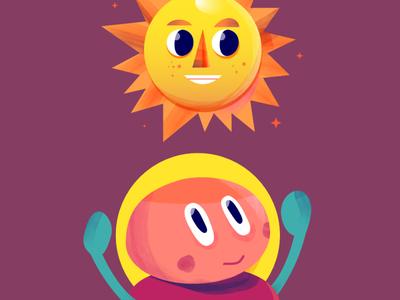 sunny side up mascot character affinitydesigner sun design digital indonesia icon vector illustration