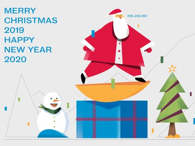 christmas 2019 happy red character illustration holiday snowman santa 2020 new year christmas