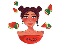 Melon babe 🍉 digital illustration art summer watermelon characterdesign vector procreate illustration