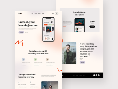 Education Product Page study landing e-learning product page education app concept minimal colors website web ux ui design