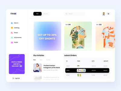 Сlothing Shop Dashboard gradient online shop e-shop fashion shop e-commerce dashboard clothes store branding concept minimal colors ux ui design