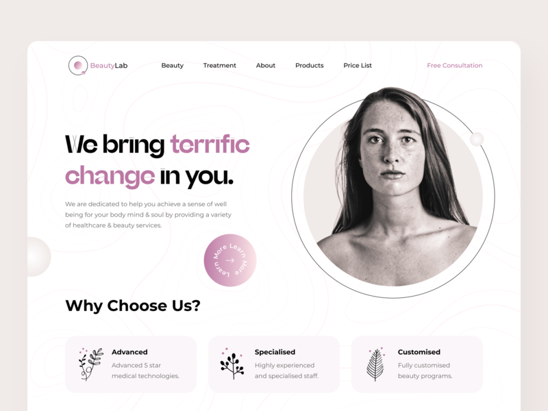 BeautyLab Studio Home Page concept gradient health homepage landing clinic cosmetology beauty logo website web minimal colors ux ui design