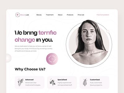 BeautyLab Studio Home Page concept gradient health homepage landing clinic cosmetology beauty logo website web minimal colors ux ui design
