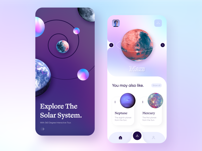 Solar System 360° Panorama App 360 view panorama mars earth nasa planet solar system space cosmos photo gradient app concept colors minimal ux ui design