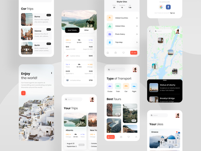Travel App city ticket mobile tours tourism clean ios vacation map travel app traveling trip travel photo app minimal concept ux ui design